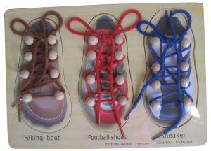 Wooden Lacing Shoes Peg Puzzle DIY Toys pictures & photos