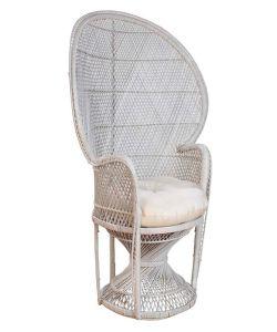 Well Furnir Whitewash Dramatic High-Back Accent Rattan Peacock Chair pictures & photos