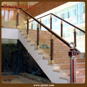 Indoor Aluminum Glass Balustrade for House Staircases (SJ-707) pictures & photos