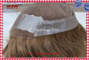 Swiss Lace Poly Binding Human Hair Men′s Hairpiece pictures & photos