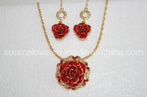 Fashion Jewelry-24k Gold Rose Earring and Necklace