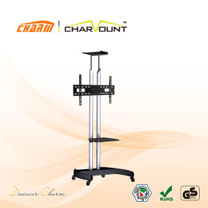 High Quality Steel Tube Height Adjustable TV Stand Trolley Has Tempered Glass (CT-FTVS-T104) pictures & photos
