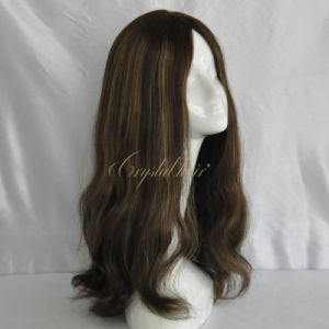 Elegant Human Hair Brown Sheitel Jewish Wig pictures & photos