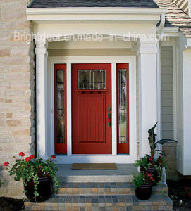 Guangzhou Supplier Reflected Glass Entry Red Oak Wooden Door pictures & photos