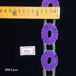 4cm Double Line Simple Purple Daisy Flower Lace Fringe for Girl Dress Hme862 pictures & photos
