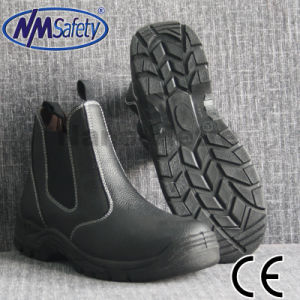 Nmsafety Embossed Cow Leather Black Work Safety Boots pictures & photos