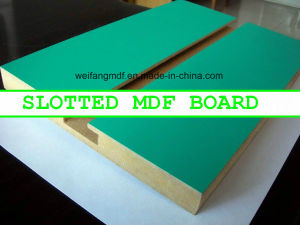 18mm Good Color and Quality Slotted Melamine MDF Board pictures & photos