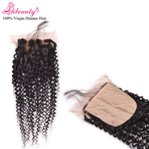 4X4 Kinky Curly Silk Base Closure Remy Human Hair Wholesale pictures & photos
