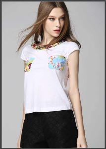 New Design Fashion Short Sleeve 100%Cotton Cotton Women Print Tshirt pictures & photos