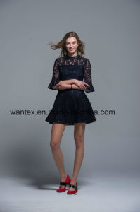 Ladies Lace Dress 100% Cotton Spring Autumn Fashion Hollow Black pictures & photos