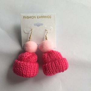 Pink Thread Hat Earring Fashion Jewelry Wholesale