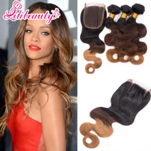 Brazilian Body Wave Hair Lace Closure with Swiss Lace 1b/4/27 pictures & photos