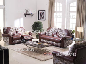 Colorful Fabric and Leather Mixed Style Recliner Sofa pictures & photos
