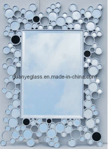 Silver and Black Floral Deco Mirror (11GJ064)