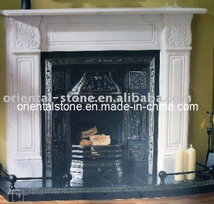 White Marble Stone Indoor Carving Fireplace with Stove