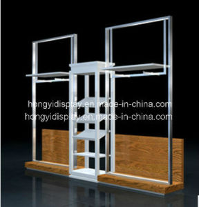 Metal Slatwall with Wooden Platform on Base, Wall Rack pictures & photos