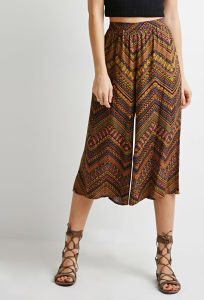Abstract Chevron Print Wide-Leg Culottes Women Clothes pictures & photos