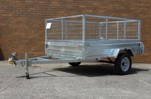 7X5 Heavy Duty Galvanised Single Axle Box 2FT Cage Trailer