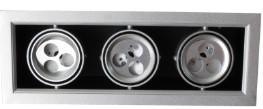 LED Bean Container Lamp Diclinic Silvery Grey Triplehead (3*3*1W lampwick) 3000k \6500k