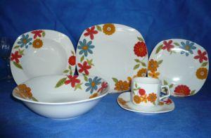 Flower Decal Design Ceramic Dinnerware Set, Tableware Set, 36PCS