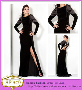 Latest Fashion Floor Length A-Line Long Sleeve Side Slit Black Velvet Evening Dress Long Sleeve (WD71)