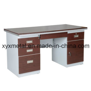 Professional Double Sides Drawers Lockable Steel Frame Office Desk pictures & photos