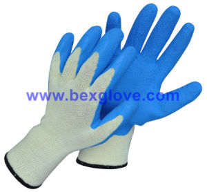 10 Gauge Polyester Liner, Latex Coating, Foam Finish Glove pictures & photos