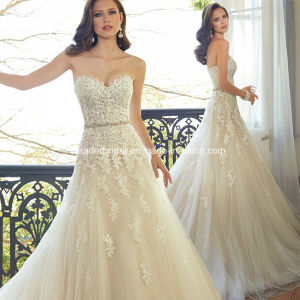 Lace Bridal Gowns Corset A-Line Tulle Beading Wedding Dresses W15172 pictures & photos