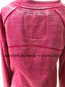 Fashionable Plum Fleece Pullover for Women with Burn out pictures & photos