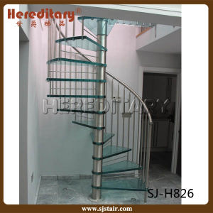 Vertical Grill Design Stainless Steel Glass Spiral Staircase For Interior  (SJ H826)