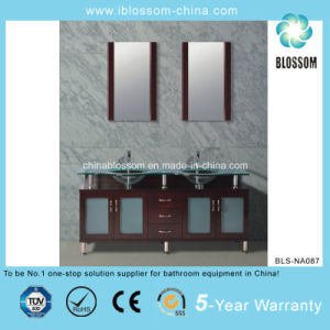 Wooden Color Glass Basin Bathroom Cabinet Furniture (BLS-NA087) pictures & photos