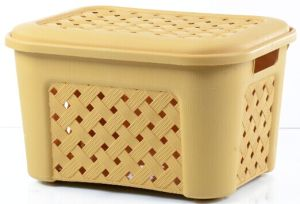 Plastic Rattan Storage Basket with Lid (LE34366) pictures & photos