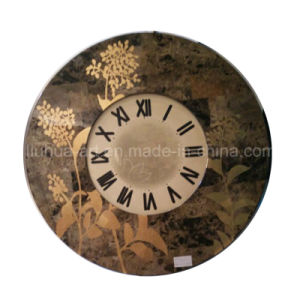 Solid Antique Wood Clock Frame with Flower Picture (LH-000526) pictures & photos