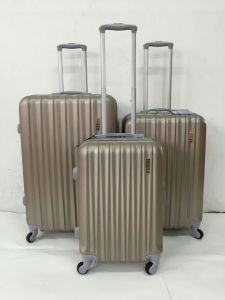 ABS Zipper Trolley Luggage Case Four Wheel pictures & photos