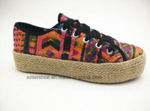 High Quality Casual Lace up Espadrilles Shoes with Glitter Upper (ET-FEK160123W) pictures & photos