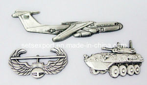 3D Antique Silver Lapel Pin Metal Badge