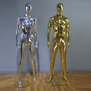 Golden Chromed Shining Male Mannequin for Fashion Display pictures & photos