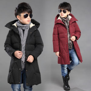 Boy Winter Hooded Long Down Coat Jacket pictures & photos