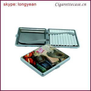 New Design Metal Frame Leather Surface with Custom Printed Design Stainless Cigarette Case