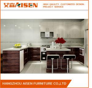 Dark Wood Color Solid Wood Veneer Home Furniture Kitchen Cupboard pictures & photos