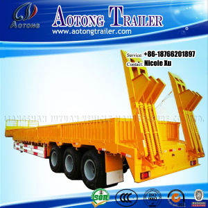 3 Axles 50-80 Tons Flat Lowbed Semi Trailer (LAT9402TDP) pictures & photos