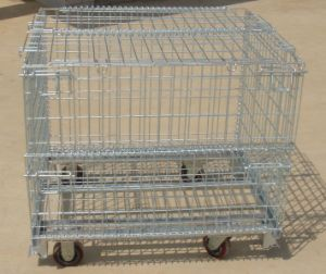 Foldable Wire Storage Cage with Wheels pictures & photos