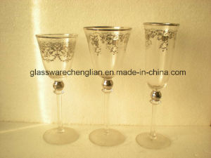Set of 3PCS of Decorated Glass Cup (HYB-04) pictures & photos