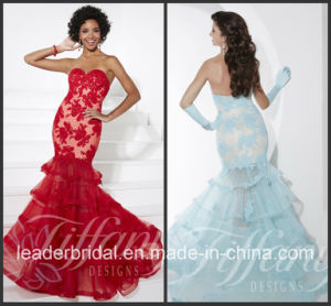 Strapless Tiered Lace Tulle Prom Party Evening Dress TIF16081 pictures & photos