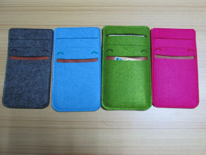 Felt Cell Phone Cover Bag Sleeve Pouch for iPhone with Card Case pictures & photos