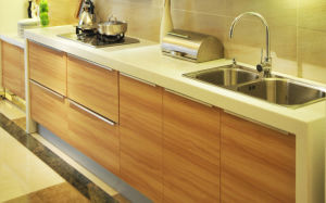 Particleboard Carcass with Melamine Finish Kitchen Cabinet (zg-009) pictures & photos