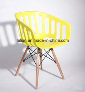 Restaurant Plastic Dining EMS Arm Chair with Solid Wood Leg pictures & photos