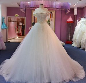 off Shoulder Pearls Ballgown Bridal Gown Gowns Dresses Wedding Dress pictures & photos