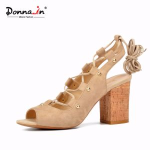 Lady Casual Shoes Lace-up Women Rivet High Heels Sandals (CIF) pictures & photos