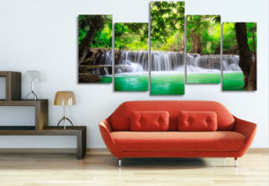 HD Printed Green Tropical Waterfall Painting Canvas Print Room Decor Print Poster Picture Canvas Mc-033 pictures & photos